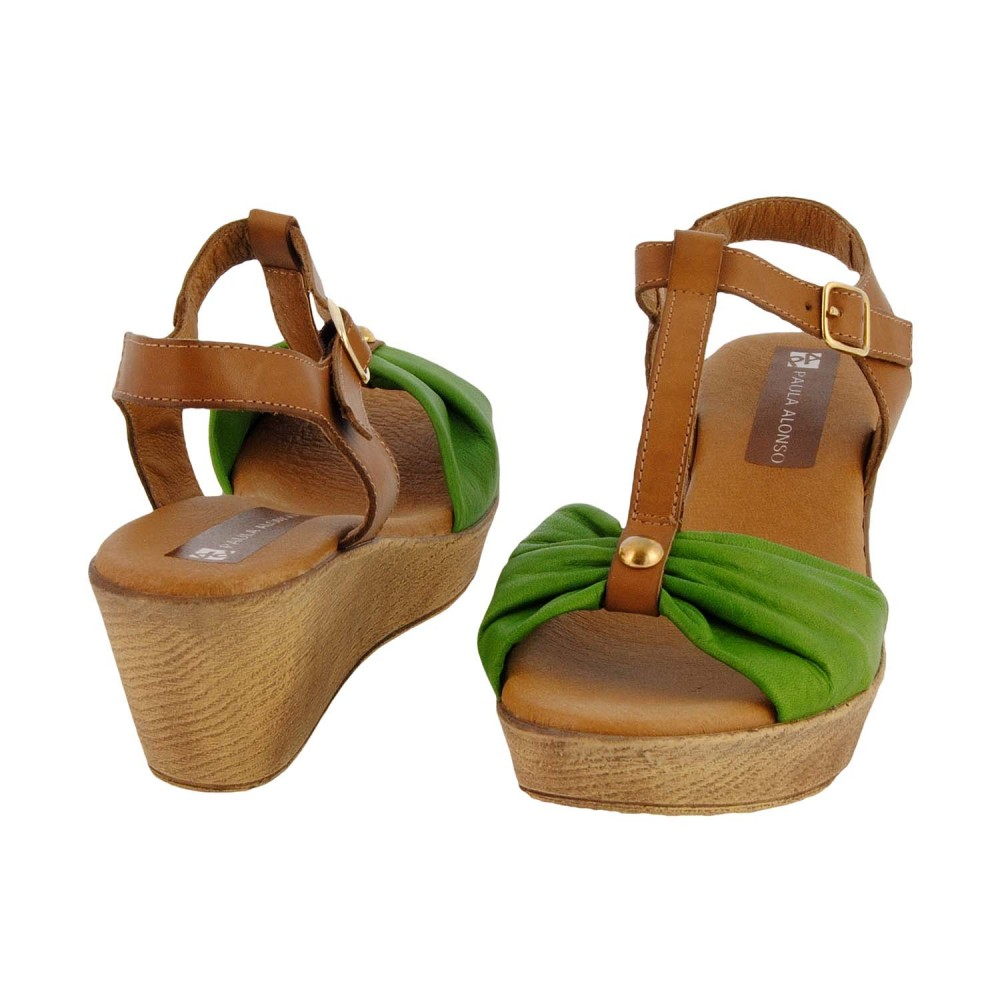 compra online salndalias cuña madera piel serraje verde