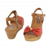 compra online sandalias cuña piel
