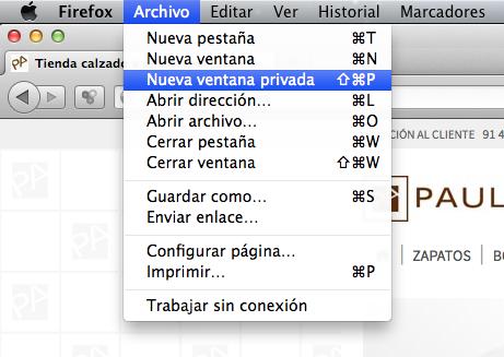 navegación privada Firefox